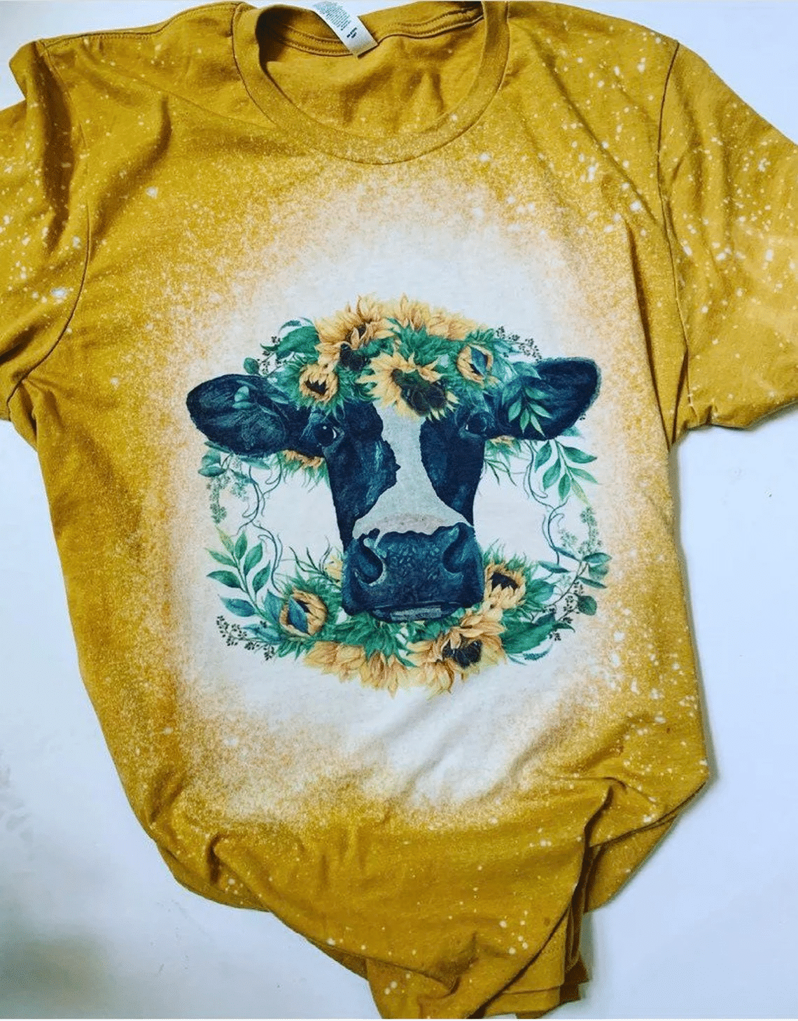 Dairy Cow Sunflower Bleached T-Shirt