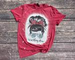 Wrestling Mom Messy Bun Bleached Shirt