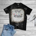 Just A Girl Who Loves Peckers Bleached T-Shirt