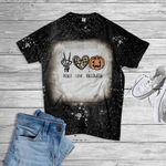 Peace Love Halloween Pumkin Bleached T-Shirt