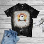 Moo I Mean Boo Ghost Cow Halloween Bleached T-Shirt