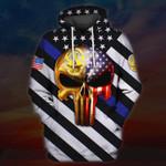 Skull Us Flag Police Officer Los Angeles All 3D Over Printed Shirt