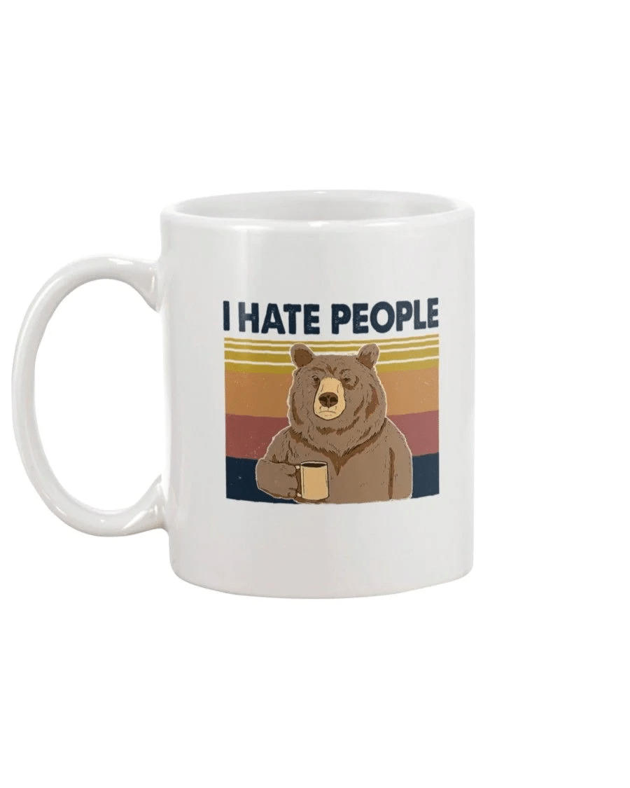 Bear Dink Coffee I Hate People Mug