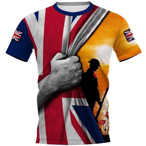 Uk Flag Soldier Sunset 3D Full Printing Shirt