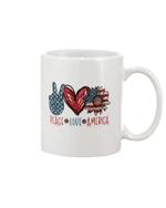 Peace Love America Hippie Sunflower US Flag 4th Of July Mug