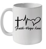 Cross Heartbeat Faith Hope Love Mug