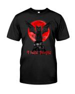 Black Cat I Hate People Halloween Shirt