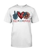 Peace Love America Sunflower US Flag Shirt