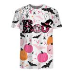 Happy Halloween Bee Boo Breast Cancer Awareness 3D All Over Printed Shirt
