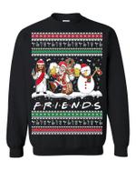 Jesus Santa Snowman FRIENDS Drinking Christmas Sweatshirt