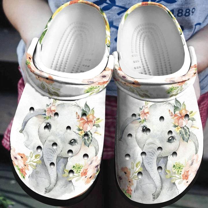 Floral Elephant Unisex Clog Shoes for Men & Women