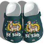 Llama Sunflower Be Kind Autism Awareness Unisex Clog Shoes