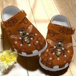 Bee Leather Pattern Unisex Clog Shoes