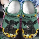 Personalized Name Black Angus Sunflowers Unisex Clog Shoes