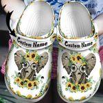 Personalized Name Elephant Sunflowers Unisex Clog Shoes