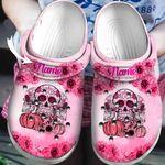 Custom Name Breast Cancer Pink Sugar Skull Halloween Unisex Clog Shoes