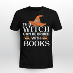 This Witch Can Be Bribed With Books Halloween Shirt