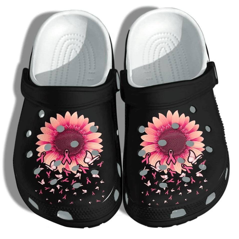 Sunflower Breast Cancer Awareness Unisex Clog Shoes