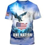 One Nation Under God Statue of Liberty & Eagle 3D All Over Print Shirt