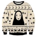 Anime No-Face Spirited Away Studio Ghibli 3D Christmas Sweater