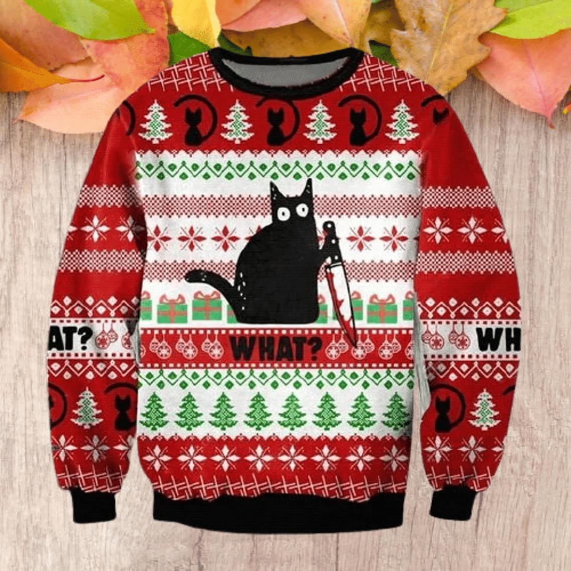 "Black Cat ""WHAT"" Jason Christmas Sweatshirt"