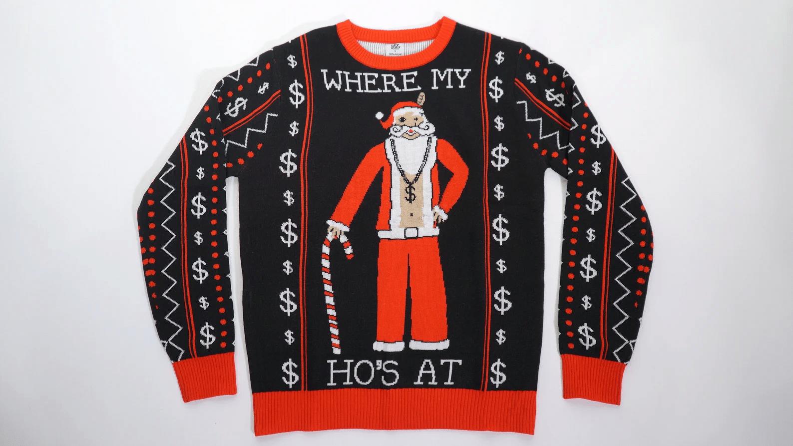 Where My Ho's At Santa Ugly Sweater