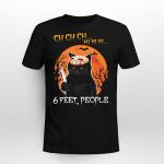 Black Cat Jason Mask Ch Ch Ch 6 Feet People Halloween Shirt