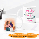 Personalized Two-sided Mug For Mom - Yesterday I'm Your Little Girl, Today I'm Your Friend and Forever I'm Your Daughter - Personalized Gifts For Family