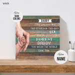 Personalized Canvas Print Fathers Day Gift for Husband from Wife and Newborn Baby Dad Mom Daughter Son Holding Hands