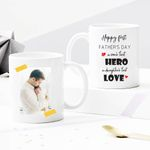 Custom Photo Mug - Happy First Father's Day A Son's First Hero A Daughter's First Love - Personalized Two-sided Mug For Dad