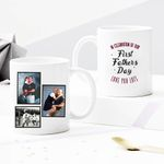 Custom Photo Mug Up to 3 Photos - In Celebration Of Our First Father's Day Love You Lots - Personalized Two-sided Mug For Dad