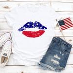 Patriotic Lips T-Shirt, American Flag Lips Shirt, Kisses Shirt, 4th of July Shirt, Merica Unisex Shirt
