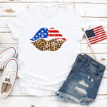 Cheetah Lips Shirt, Patriotic Lips T-Shirt, American Flag Lips Shirt, Kisses Shirt, 4th of July Shirt, 4th of July, Merica Unisex Shirt