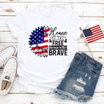 Sunflower American Flag T-Shirt, Home Of The Free, 4th of July Shirt, Merica Unisex Shirt