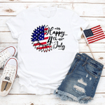 Happy 4th July Sunflower American Flag T-Shirt, 4th of July Shirt, Merica Unisex Shirt