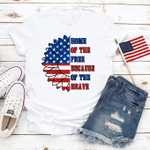 Home Of The Free, Sunflower American Flag T-Shirt, 4th of July Shirt, Merica Unisex Shirt