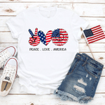 Peace, Love, America, Happy 4th of July T-Shirt, American Sunflower Flag, Celebration July 4th