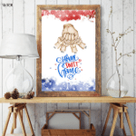 Veteran Big Family Dad & Son, Home Sweet Home, Fourth Of July Poster, Independence Day, American Pride, Freedom, American Flag, Patriotism