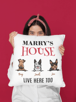 Housewarming Gifts For Dog Lovers, Personalized Throw Pillow, Home Décor, Custom Dog Breeds Furry Friends