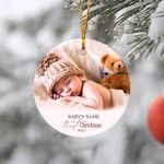 Baby's First Christmas Ornament, Photo Ornament, Personalized Christmas Ornament, Christmas Ornament, Baby Shower Gift, Baby Announcement