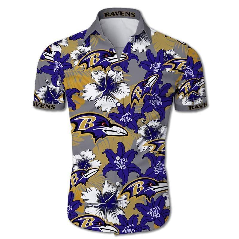 Baltimore Ravens Hawaiian Shirt Tropical Flower