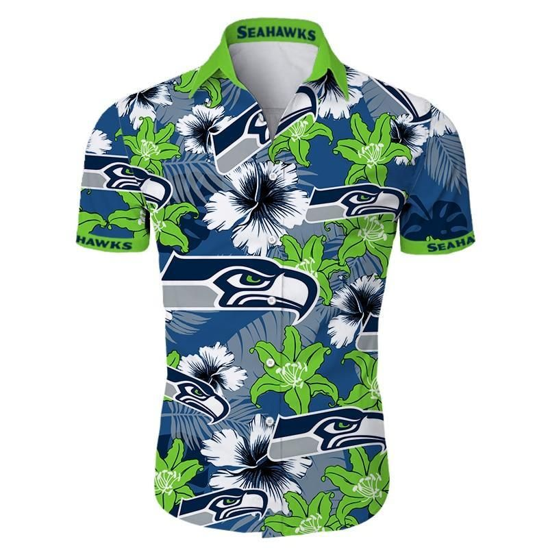 Seattle Seahawks Hawaiian Shirt Floral Button Up Hawaiian shirt