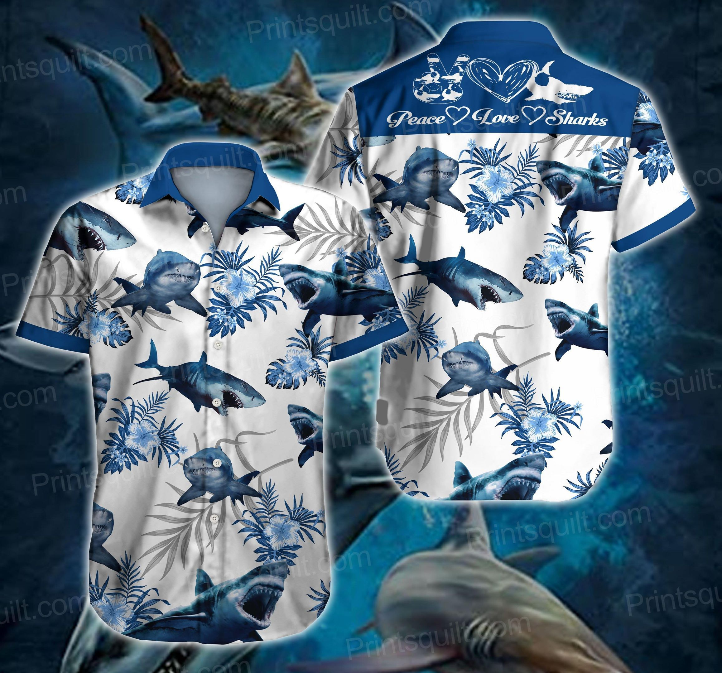 Peace Love Shark 3d Hawaii Shirt
