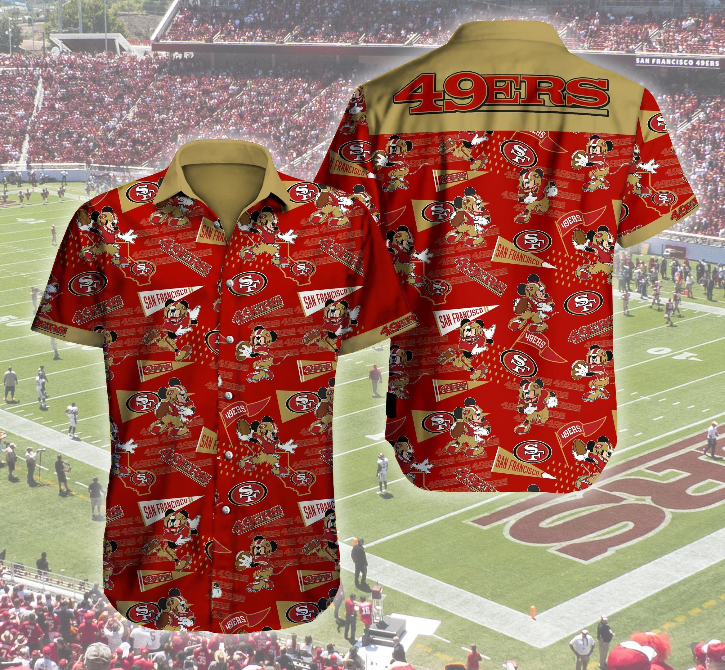 San Francisco 49ers Logo Mickey Mouse Hawaii Shirt