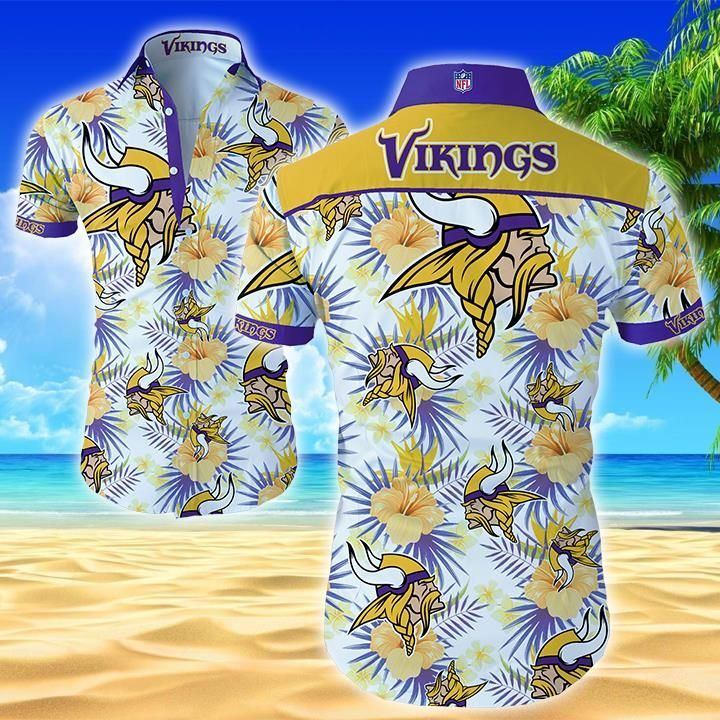 Nfl Minnesota Vikings Floral Hawaiian Shirt