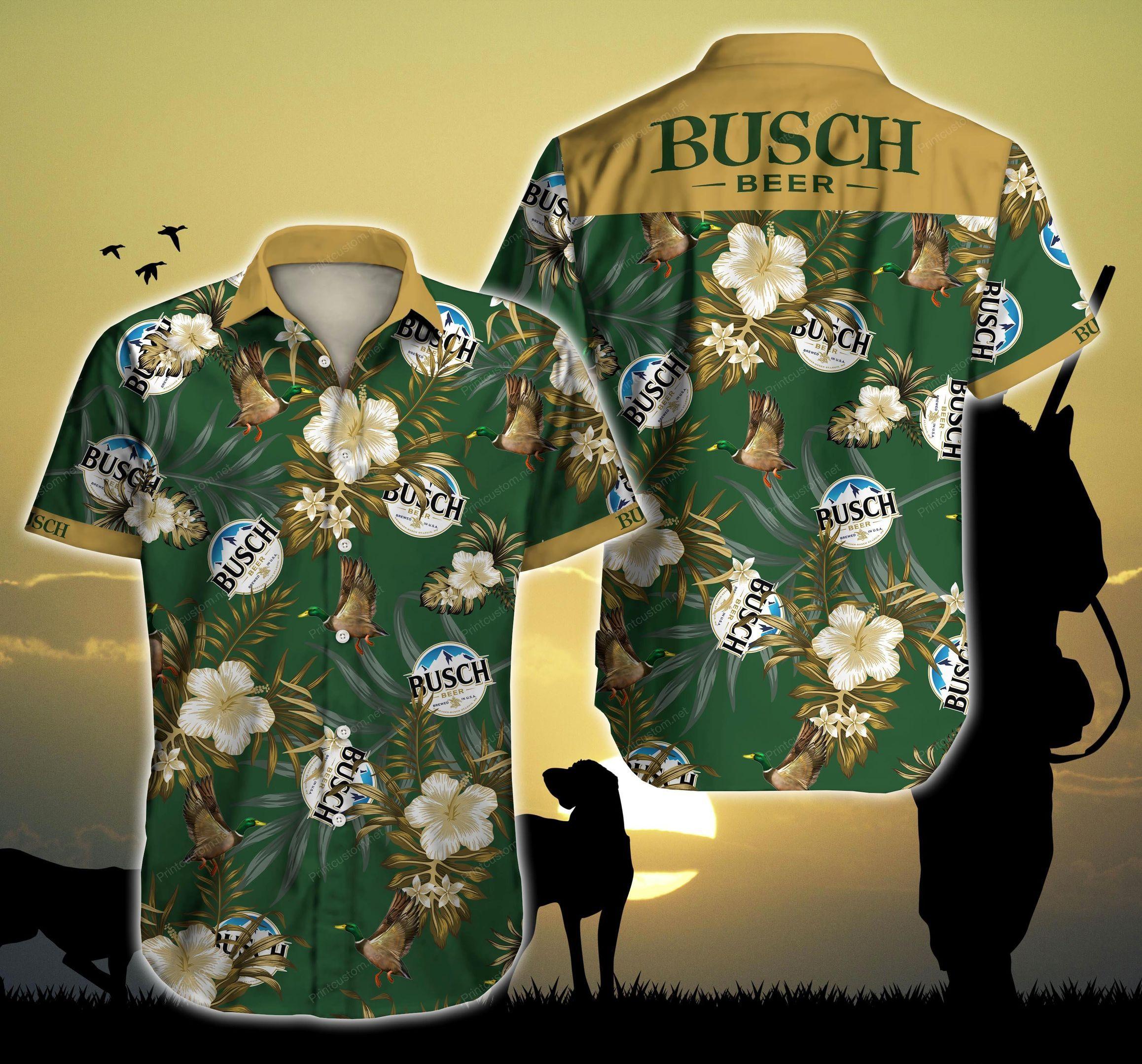 Busch Light Beer Hunting Mallard Hawaii Shirt Beach Wear