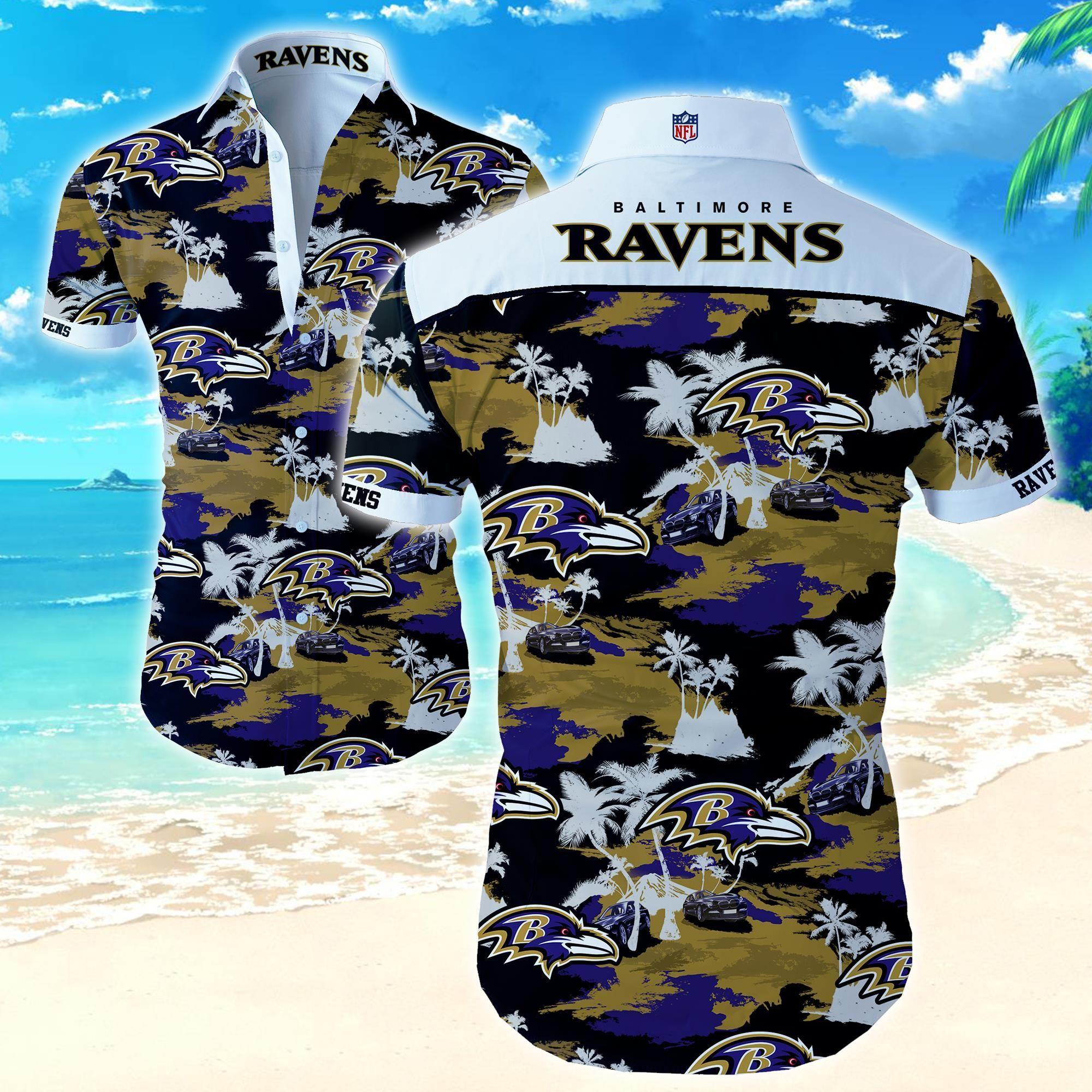 Nfl Baltimore Ravens Hawaiian Shirt with car