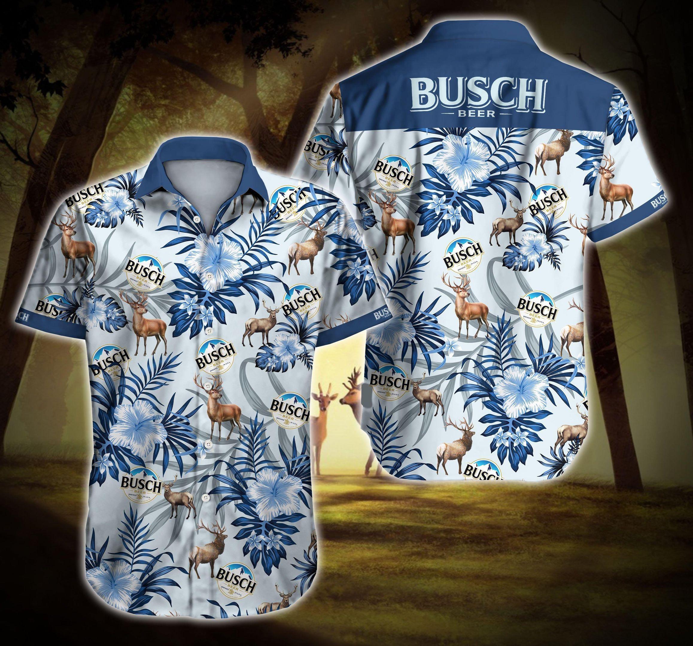 Busch Beer Reindeer Hawaiian Shirt Summer Shirt