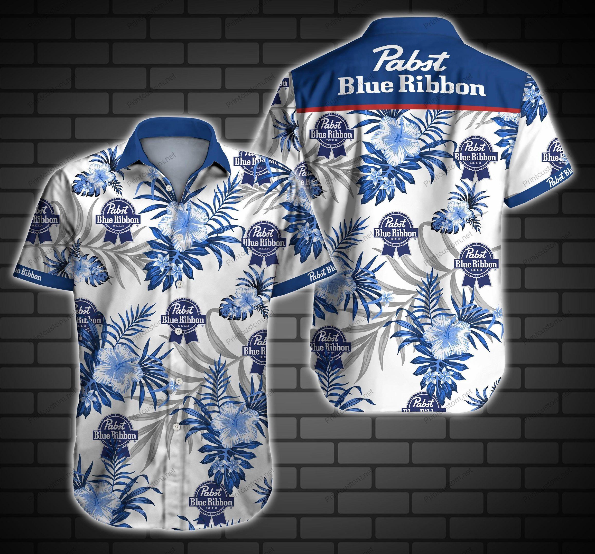 Pabst Blue Ribbon Pbr Hawaii Shirt Summer Button Up
