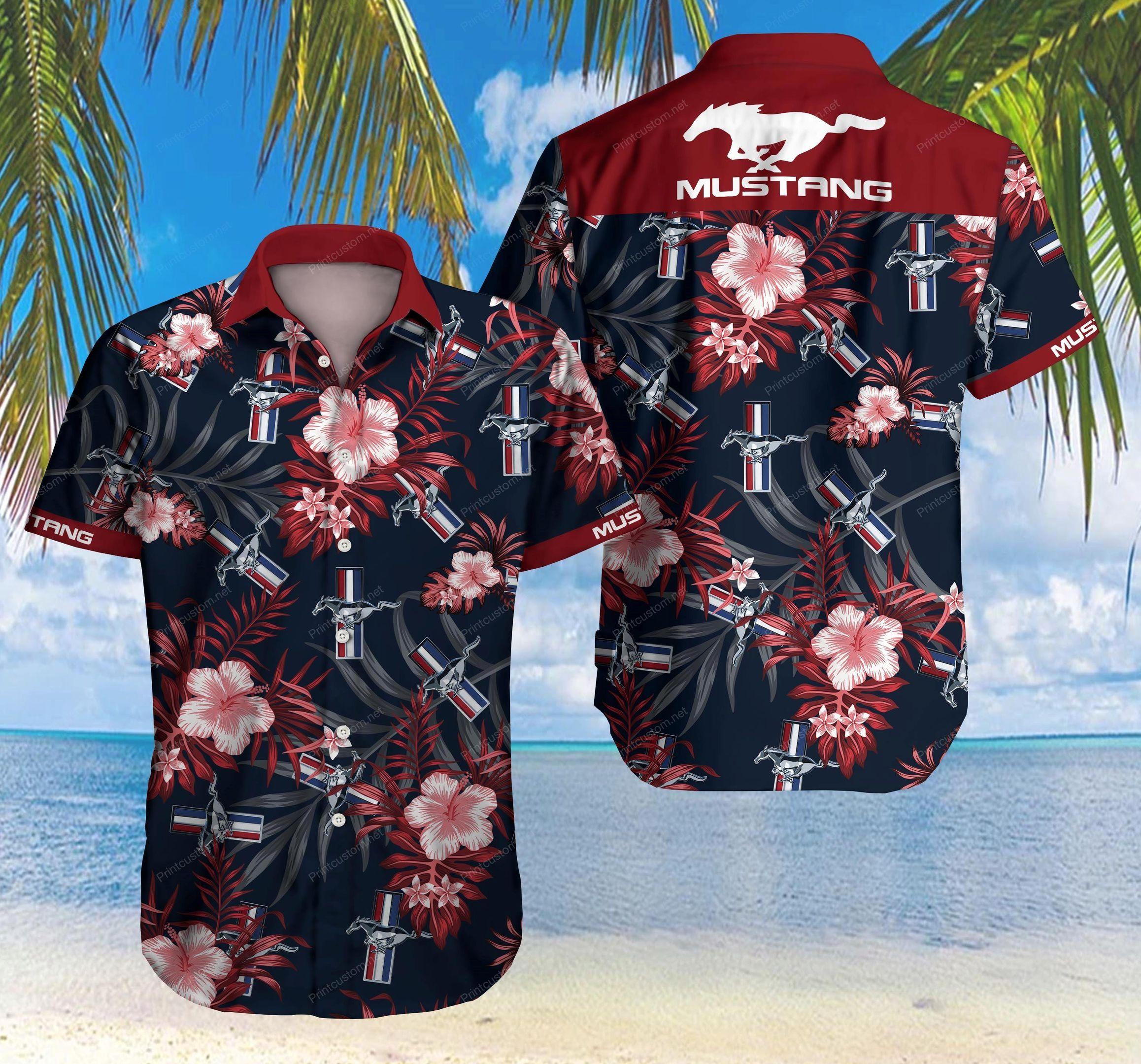 Ford Mustang Floral Hawaiian Shirt Summer Shirt